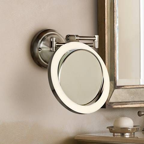 Surround Lighted 12 3 4 High Satin Nickel Mirror With Images Makeup Mirror With Lights Makeup Mirror Mirror