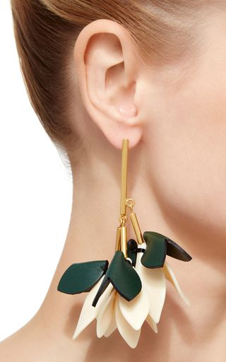 These Earrings By Marni Are Rendered In A Layered Drop Style With Leather Detailing That Resemble Leaves And Gold Hardware For Stems
