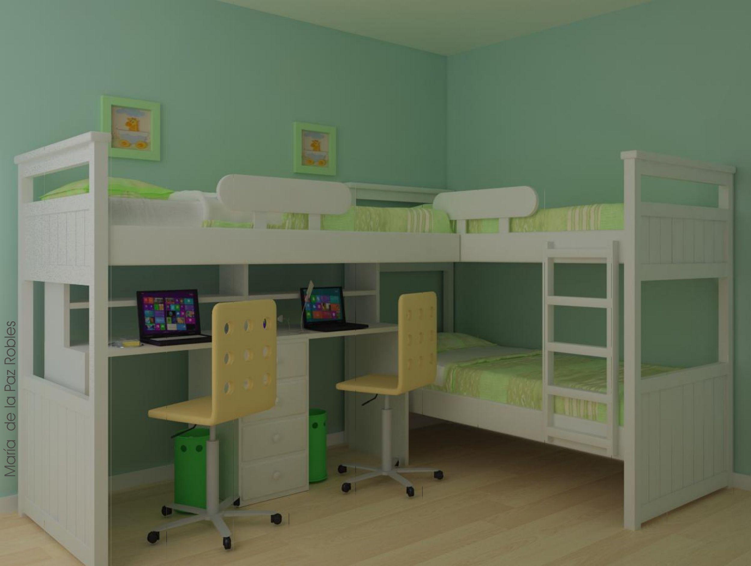 Cama superpuesta cama en l con escritorio y alzada for Muebles pepe jesus dormitorios juveniles