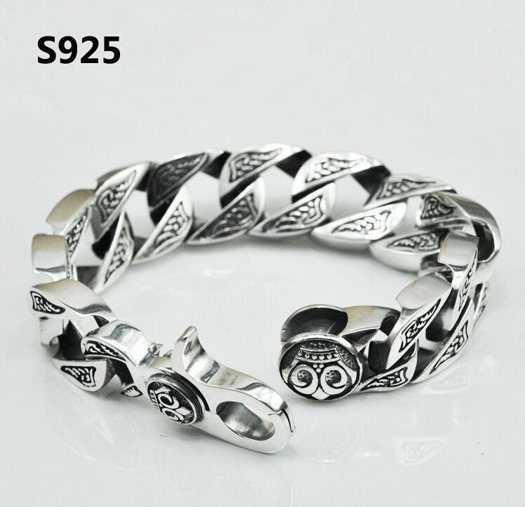 08c767103f44b1 $232.94 Pure Handmade Men's Jewelry Sterling Silver Bracelet Black Retro  Heavy Men Jewelry 100g Skeleton Man Bracelets. #bikerjewelry,  #Hiphopchains, # ...