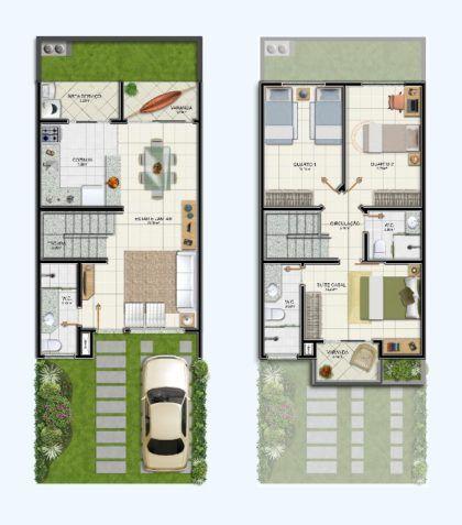 plantas de casas e sobrados duplex com 3 quartos | Goeshadit | Pinterest