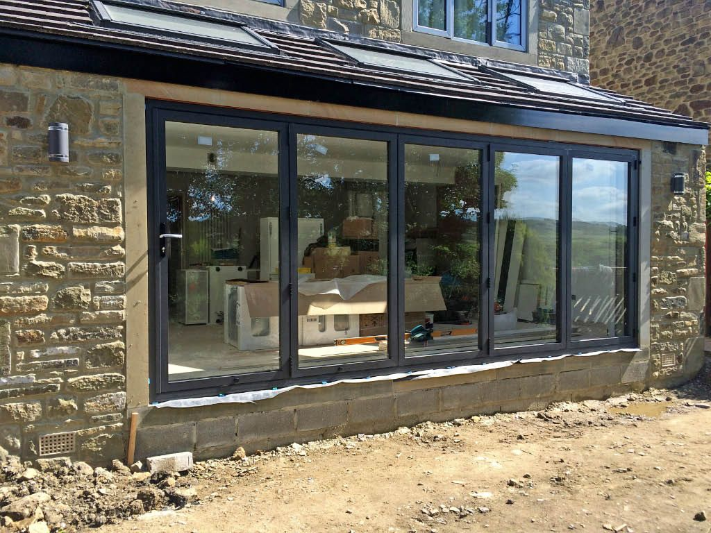 Our Smart Visofold 1000 Bi Fold Doors Recently Installed In A Local House Extension Aluminium Windows And Doors Bifold Doors Windows Doors