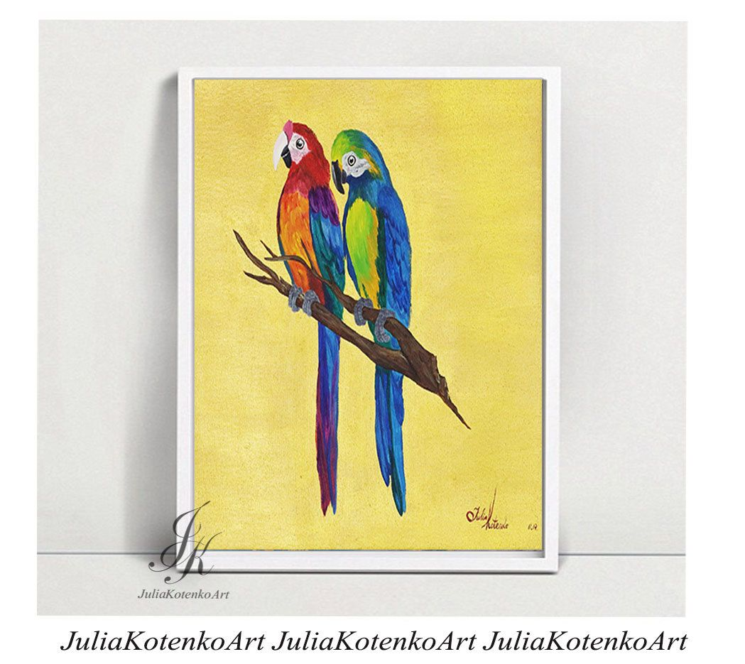 Parrots Printable, Digital Download, Wall Art On Canvas, Print Art ...