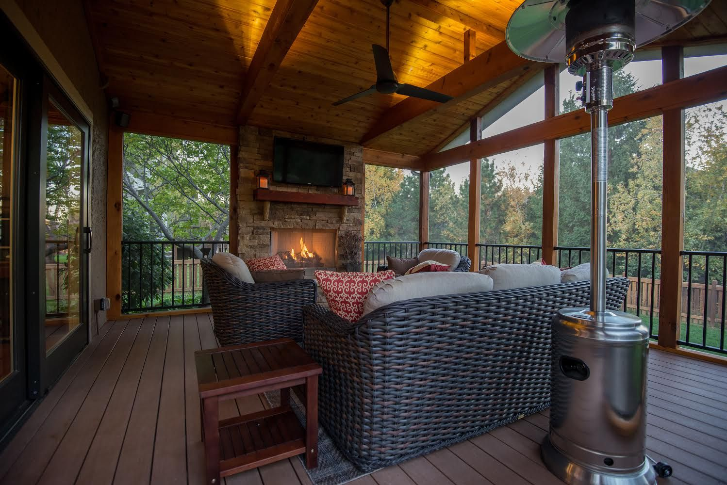 screen porch fireplace. Leawood KS screened porch with outdoor fireplace  For the Home