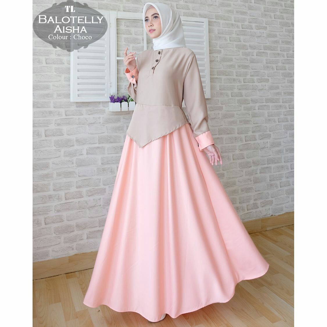 Gamis Baloteli Polos Aisha Maxi - Baju Muslim Modern  Model