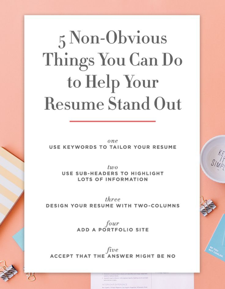 Keywords In Resume 5 Nonobvious Things You Can Do To Make Your Resume Stand Out .