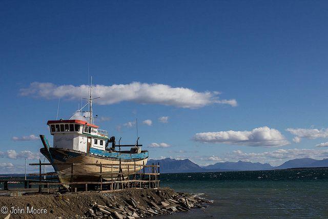 Boat in drydock at Puerto Natales.