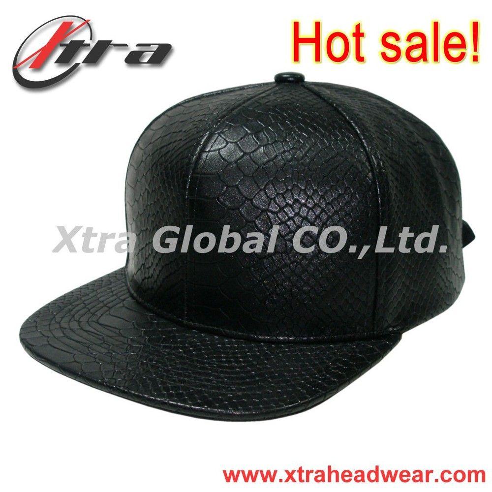 67b7d53a High Quality Fashion Blank Snapback Cap For Men Snakeskin PU Leather Fabric Snapback  Hats Metal Buckle Baseball Cap