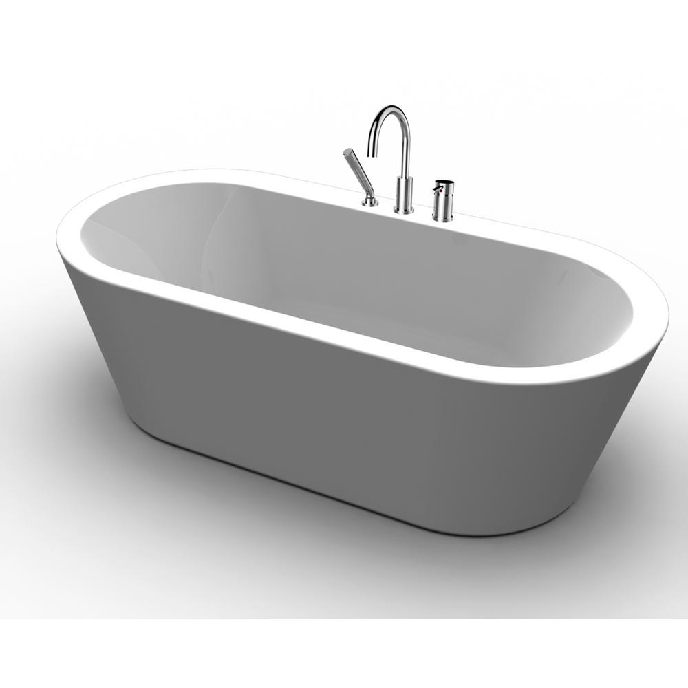 Renwil Dexter 5.9 ft. Acrylic Freestanding Flatbottom Non-Whirlpool Bathtub in White and Deck-Mount Faucet in Chrome, White High-Gloss Acrylic