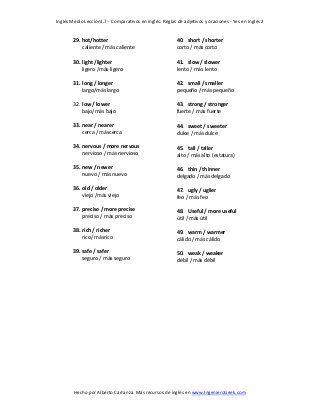 1 7 Lista Comparativos En Ingles Reglas De Adjetivos Y Oraciones