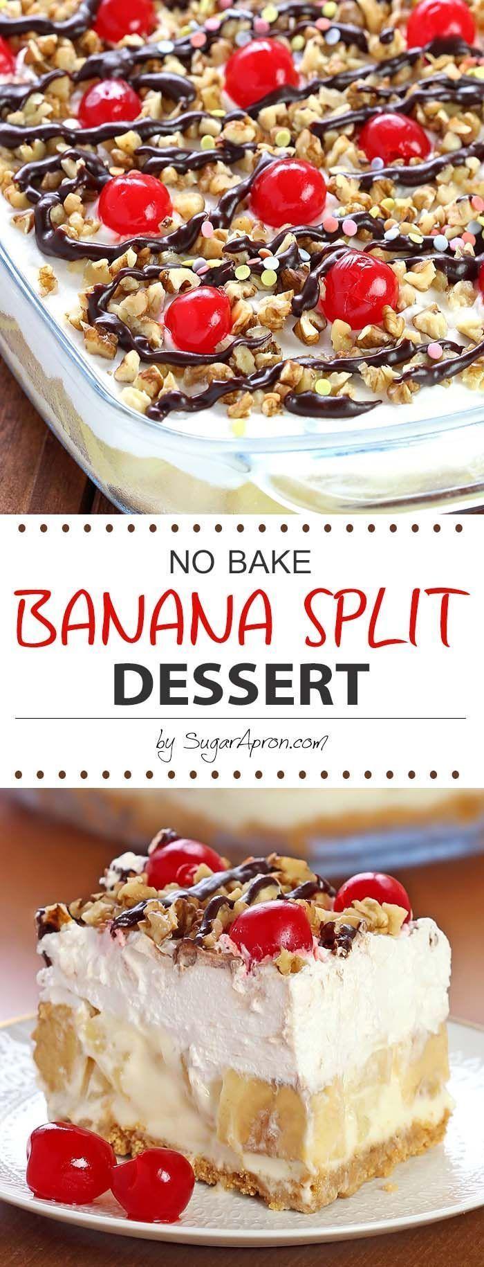 No Bake Banana Split Dessert - Zuckerschürze #enklaefterrätter