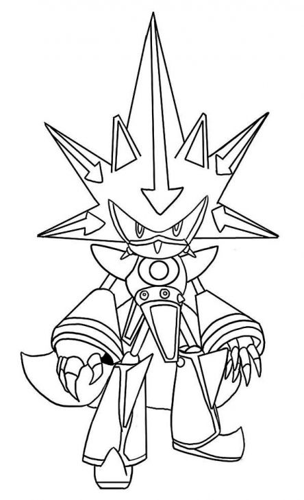 Awesome Metal Sonic Coloring Page Free To Print