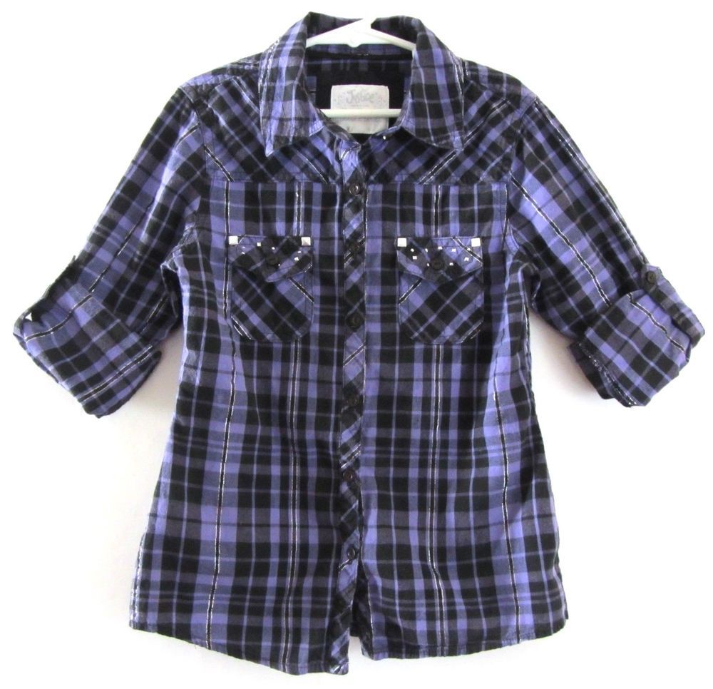 Purple flannel men  Justice Girls Button Down Shirt Checkered Long Sleeves Violet