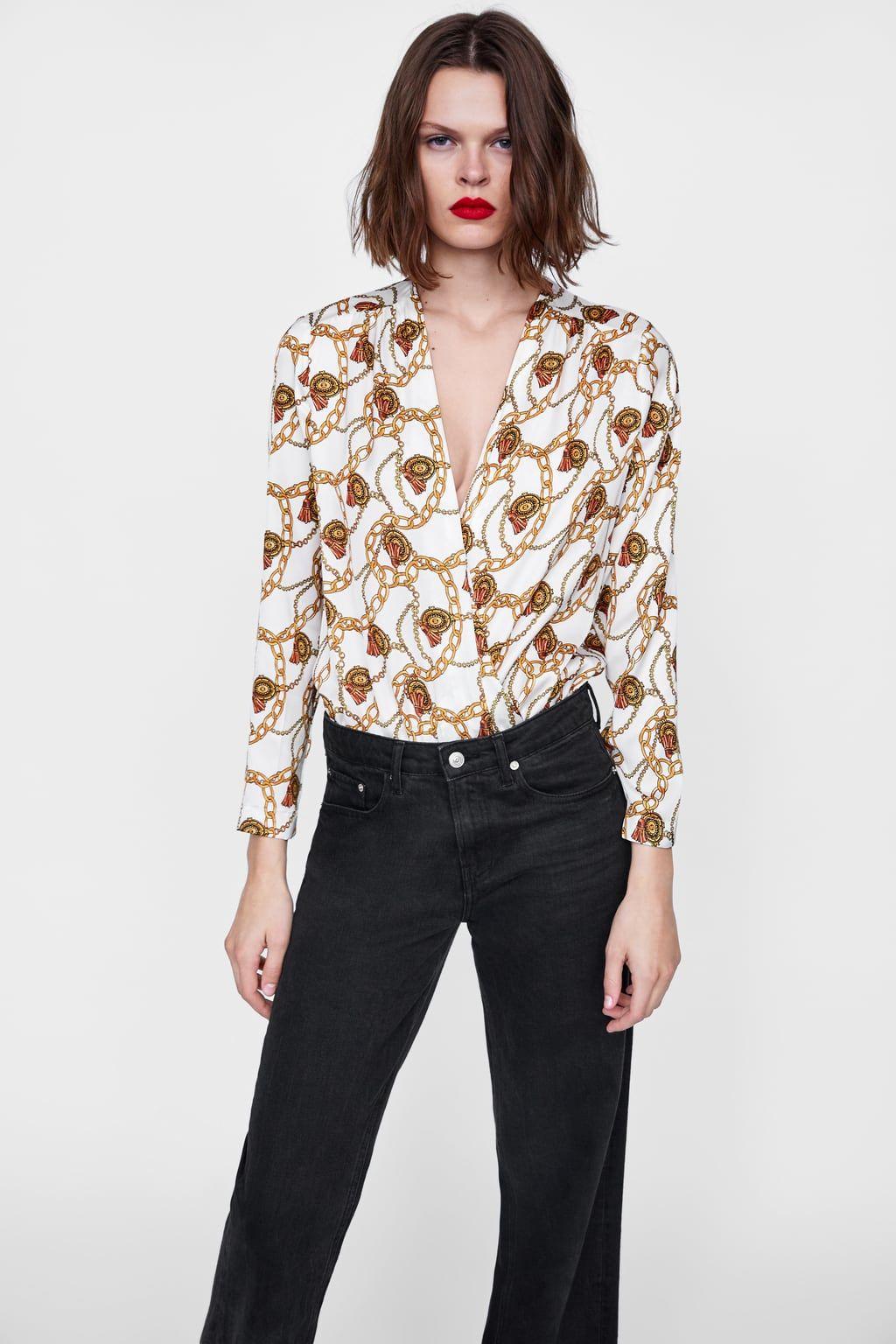 Women/'s Scarf Chain Print Ladies High Neck Ruffle Frill Blouse Shirt Top
