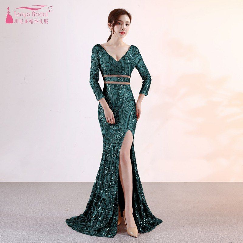 0bb661517801 Womens Formal Dresses · Find More Bridesmaid Dresses Information about V  Neck Long Sleeves Green Sequins Bridesmaid Dresses 2019 vestido