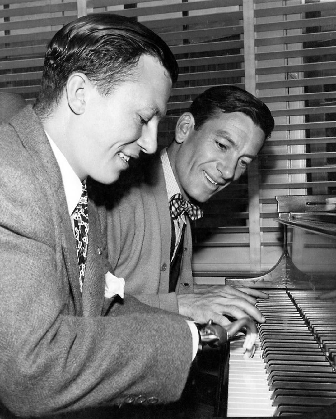 "The Hollywood Revue on Instagram: ""Actor/songwriter Hoagy Carmichael and Harold Russell on the set of William Wyler's The Best Years of Our Lives (1946). Russell became the…"""