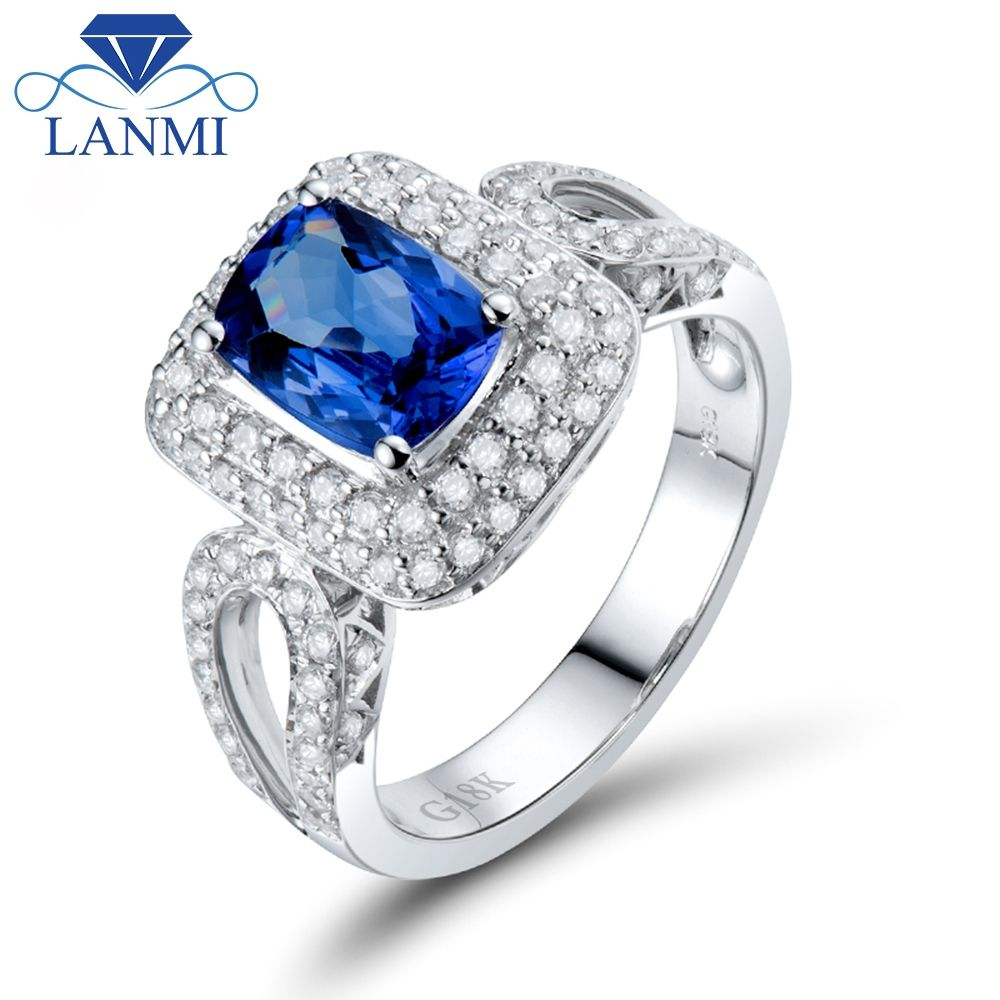 tanzanite i ring and natural diamond white solid gold ctw mens