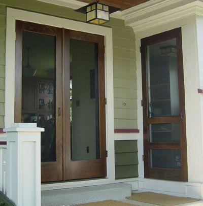 Double manhattan screen storm door shown in solid for Screen door for double door entry