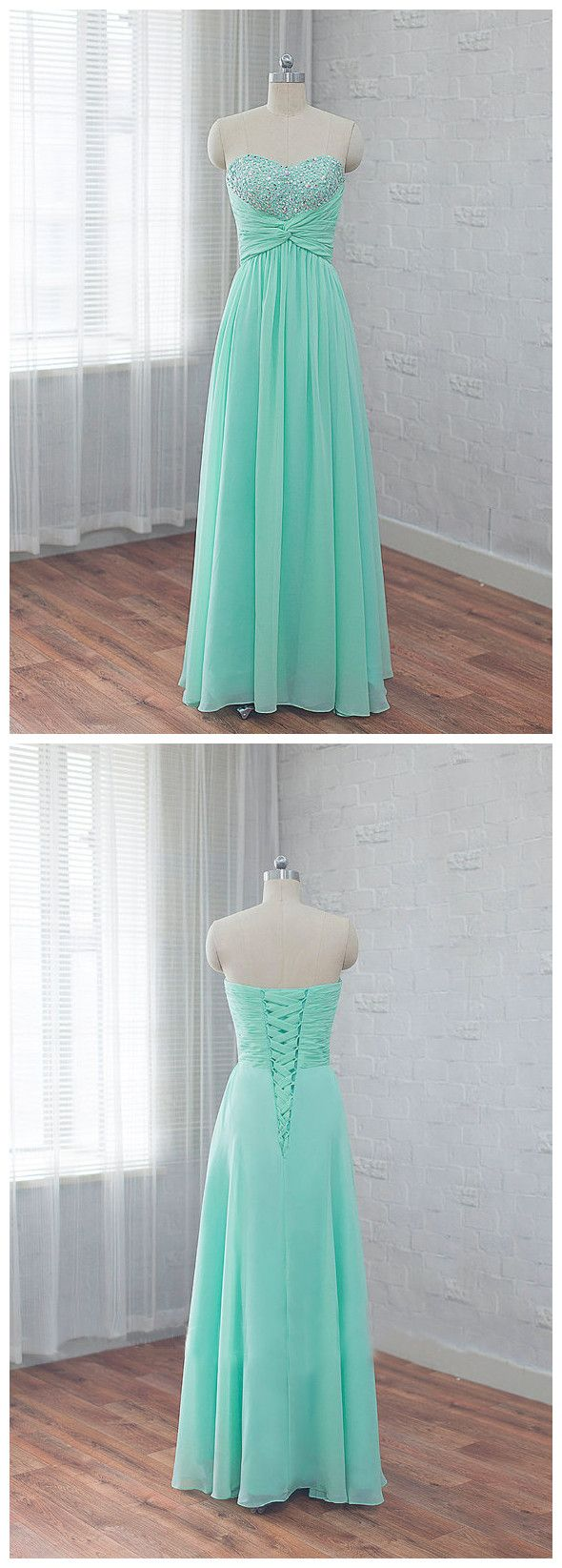 Chic mint prom dress aline sweetheart beading chiffon long prom