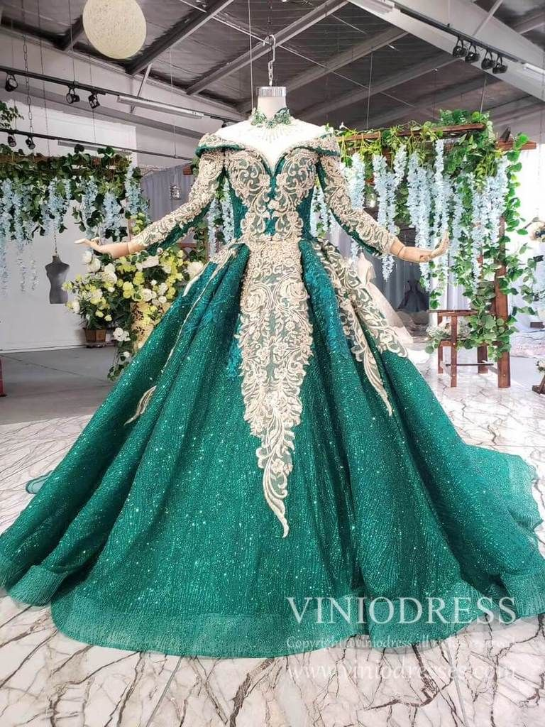 Luxury Long Sleeve Emerald Green Debut Dresses Beaded High Neck Quince Dress Fd1877 Prom Dresses Long Pink Floral Prom Dresses Quince Dresses [ 1024 x 768 Pixel ]