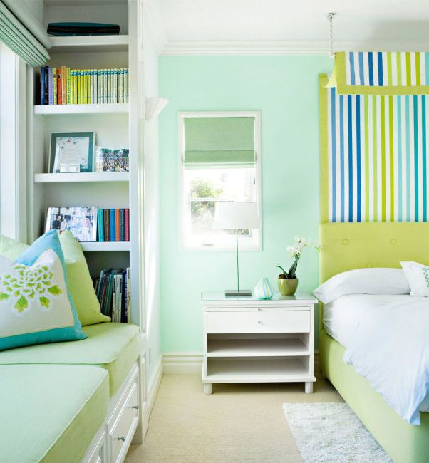 """The bright pastel hue is an unexpected backdrop for lime green and turquoise elements. It's also an ideal """"they'll grow with it"""" shade for kids' rooms."""