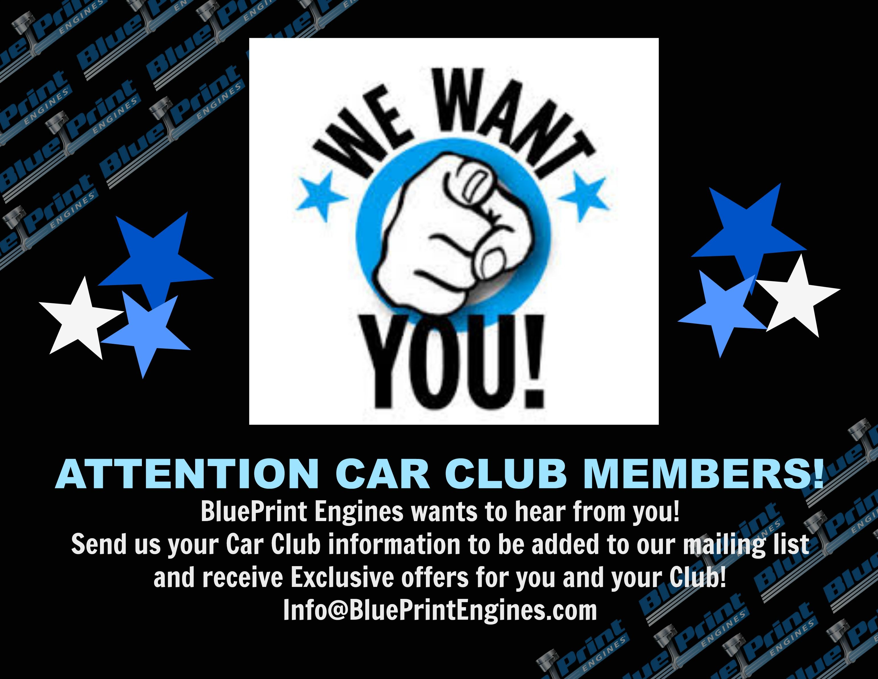 Attention car club members send us your car club information to be blueprint engines crate engine manufacturer malvernweather Image collections