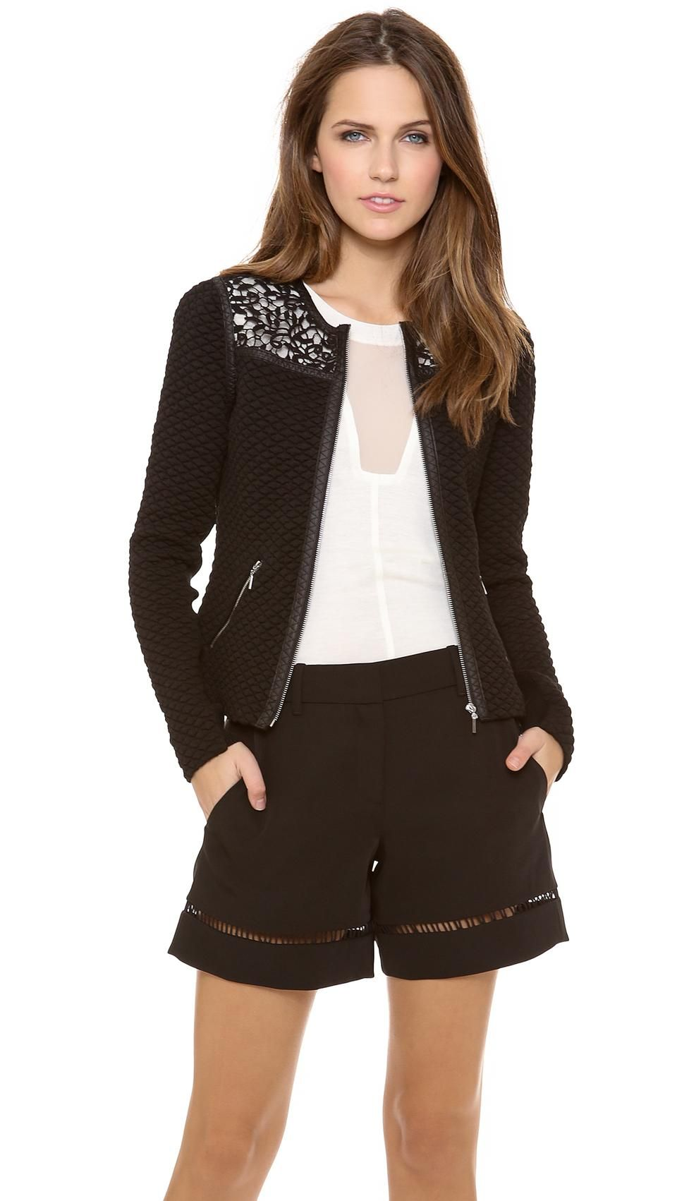 Love the Rebecca Taylor Quilted Jacket on Wantering | Coat Tales | womens quilted black jacket | womenswear | womens style | womens fashion | wantering http://www.wantering.com/womens-clothing-item/quilted-jacket/agcrS/