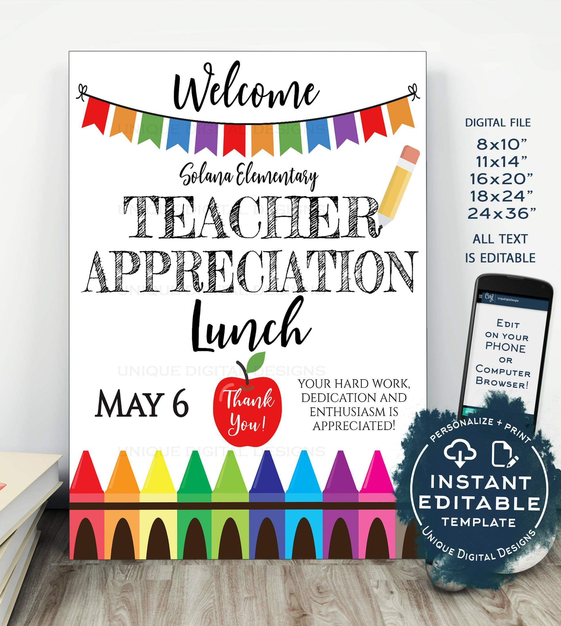 Teacher Appreciation Welcome Sign Editable School Lunch Poster Staff Appreciation Luncheon Diy Pta School Flyer Teacher Appreciation Lunch Teacher Appreciation Teacher Welcome Signs