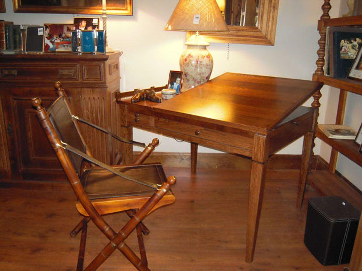 Mesa de estudio y de dibujo hecha en madera de roble for Mesa estudio con cajones