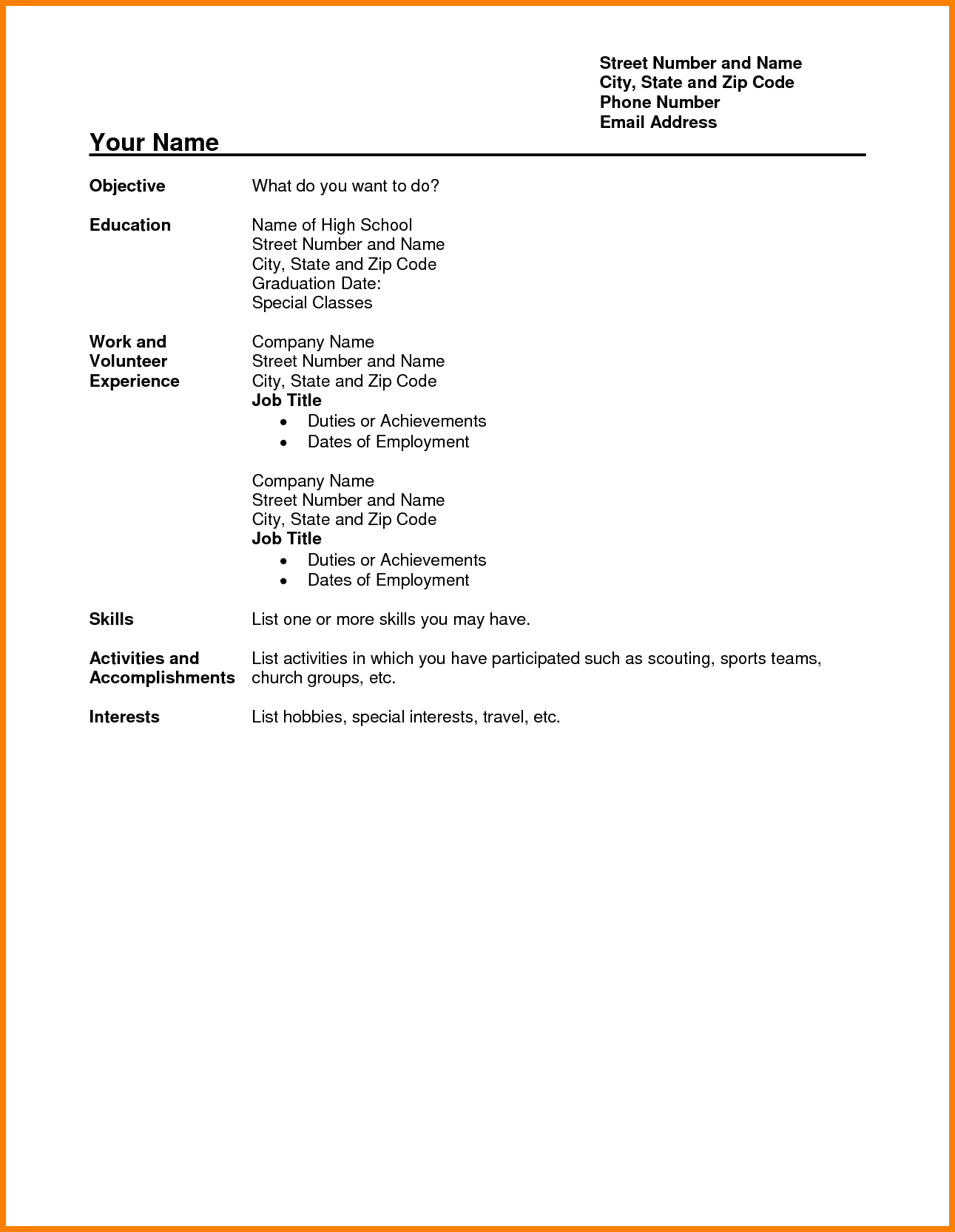 9 high school resume examples no experience pear tree