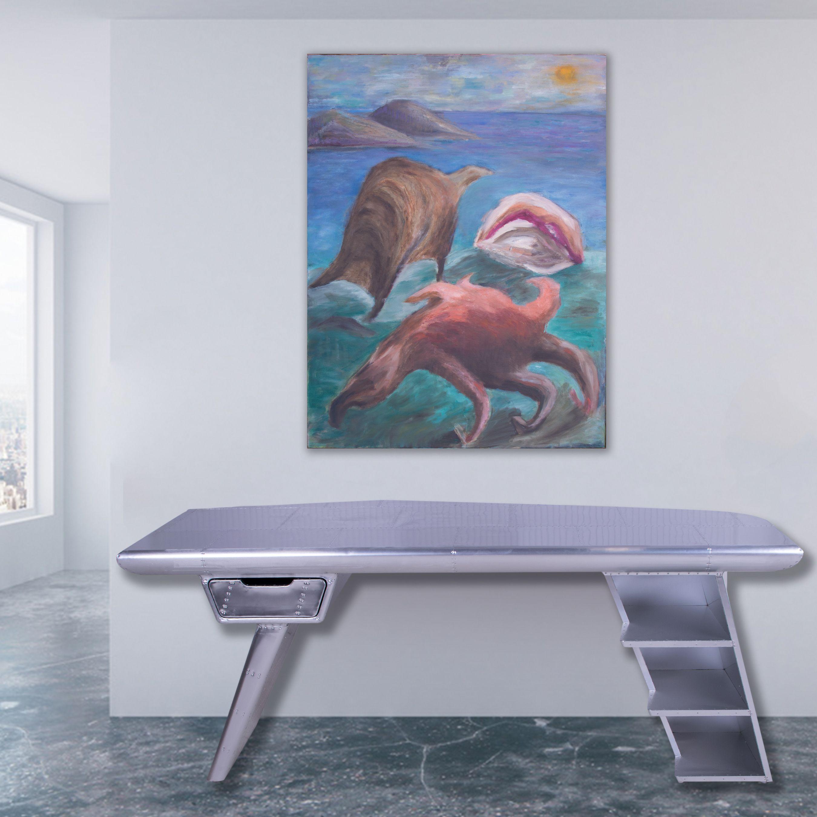 Modern metal hammered desk & modern art sold at Abell Auction Co of