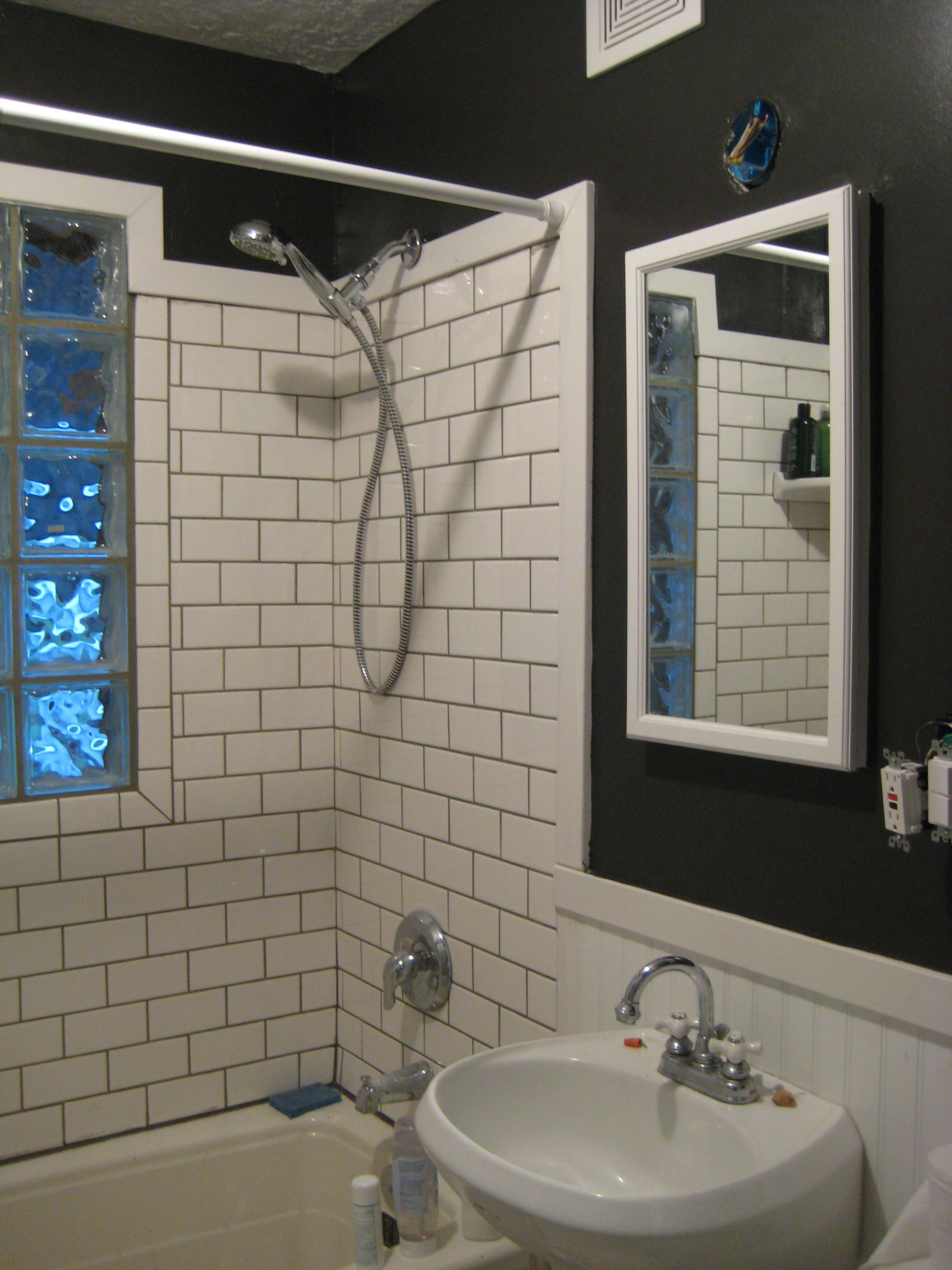 Painting Bathroom Tile Board beadboard on walls, subway tile and glass block window in shower