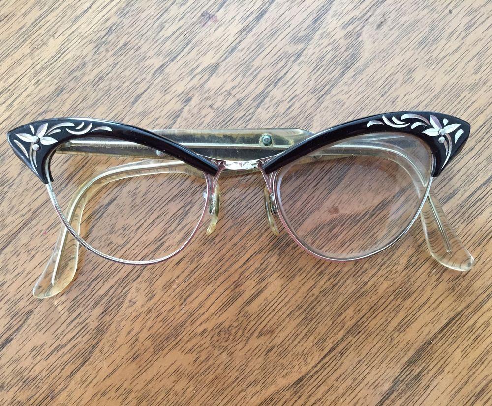 f02e7f99f81 Vintage Art Craft Cat Eye Glass Frames Black Aluminum Metal Eyeglasses  Flowers b