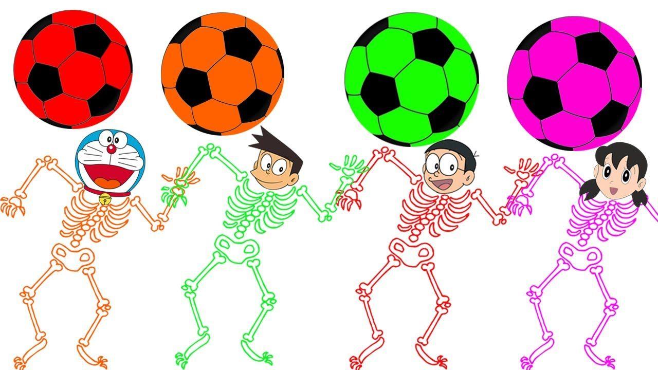 Learn Colors with Skeleton and Soccer Balls Doraemon Nobita Shizuka ...