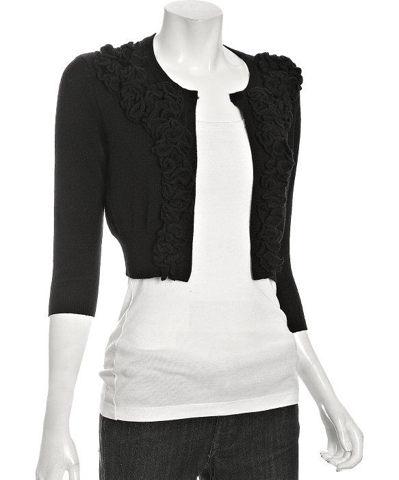 women's cropped cardigan sweaters | ... : black cashmere cropped ...