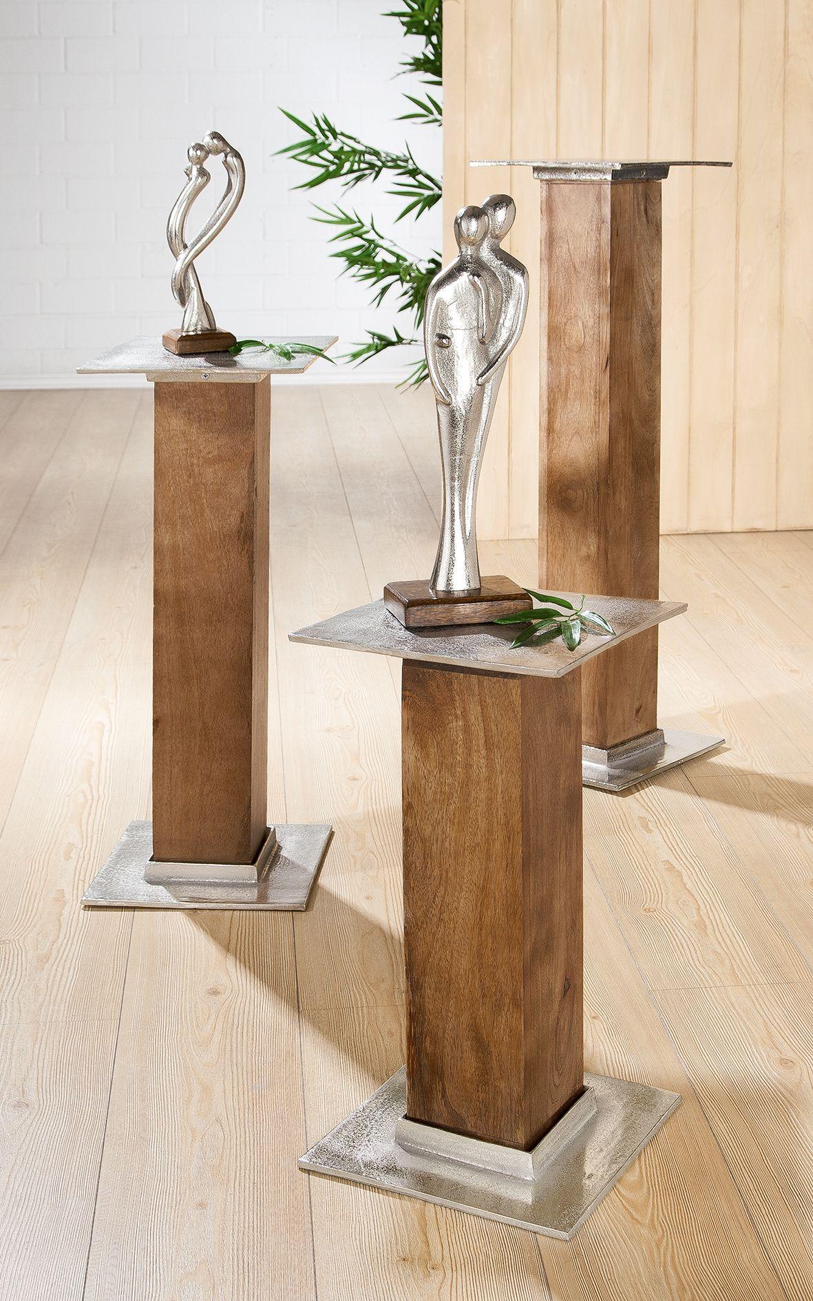 1 X Holzsaule Silber Aluminium Mangoholz Hohe 52 50 Cm Deko Haus