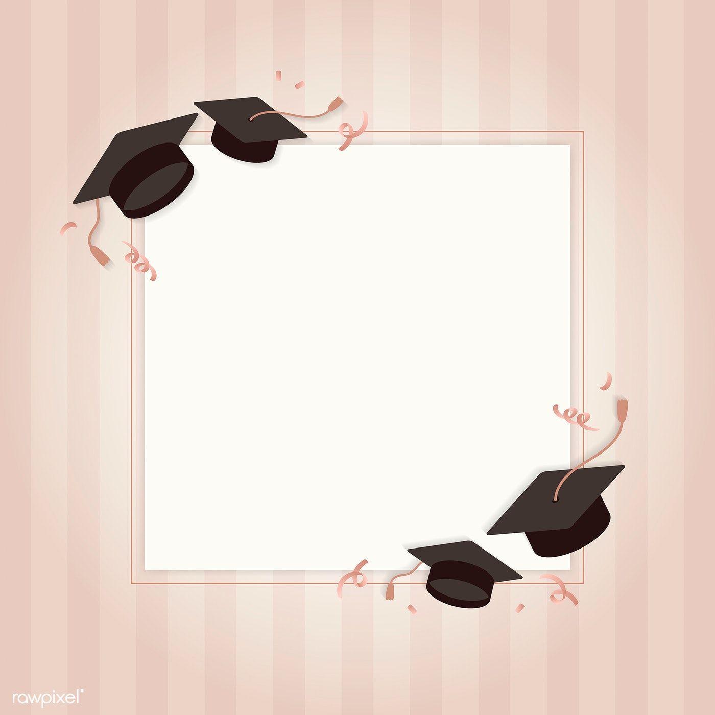 Graduation Background With Mortar Boards Vector Free Image By Rawpixel Com Ningzk V Graduation Wallpaper Graduation Frame Vector Free