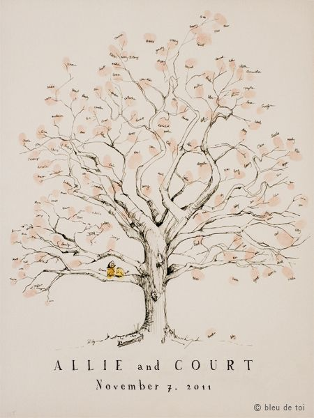 thumb print tree guest book..this is exactly what i want to do!