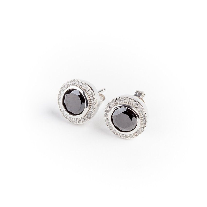 #Pendientes de #plata 925 rodiada, #decorados con #circonitas y elementos de #ónix. #Joyas #Jewelry #thebestgift #elmejorregalo #meencanta #Qillqabyjoyayplata
