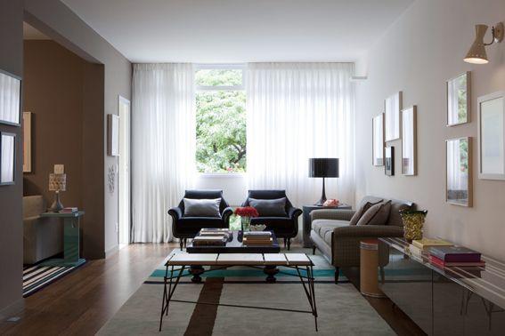 Como decorar sala retangular estreita