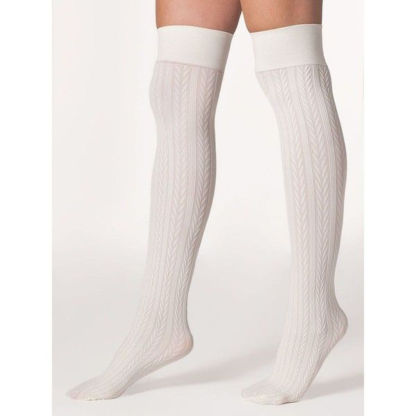 Opaque Over-the-Knee Cable Knit Sock (€4,69) ❤ liked on Polyvore featuring intimates, hosiery, socks, sexy hosiery, overknee socks, sexy socks, sexy over the knee socks and cable knee high socks
