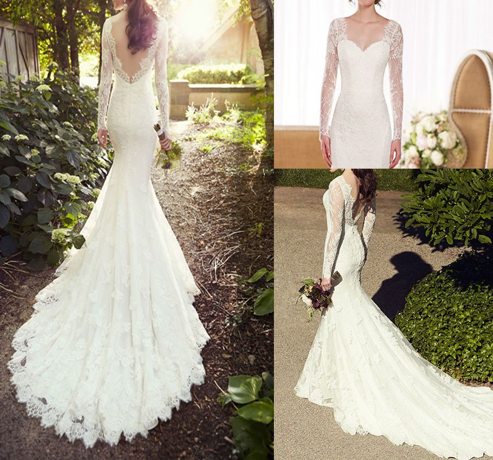 Size 6 wedding dress  Long Sleeves V Back Mermaid WhitewIvory Lace Wedding Dress Size