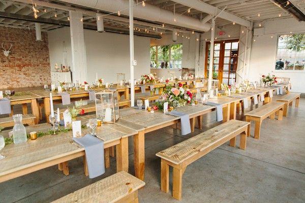 Stylish and Light Fall Wedding modern wedding with gray red blush