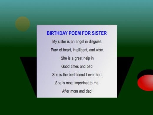 Happy Birthday Poems for Sister – Verses for 18th Birthday Cards