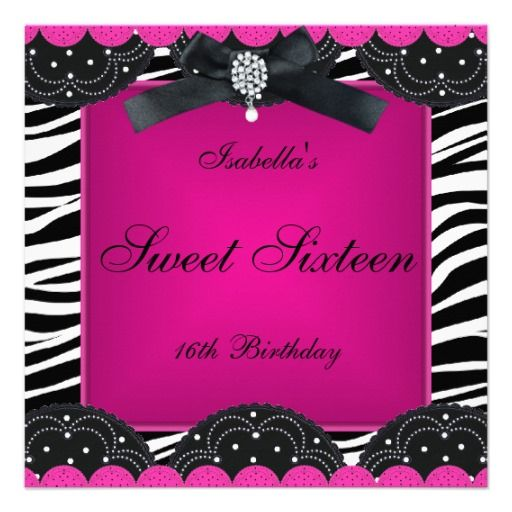fuchsia black and white invitations 16 Birthday Party Hot