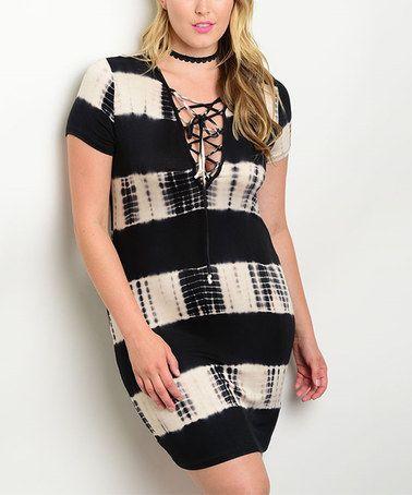 Another great find on #zulily! Black & Taupe Tie-Dye Stripe Bodycon Dress - Plus #zulilyfinds