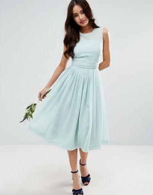 DESIGN Bridesmaid midi dress with ruched panel detail | Pinterest ...