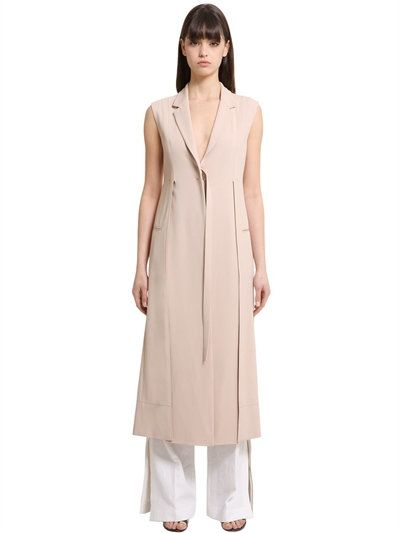 CALVIN KLEIN COLLECTION Stretch Cady Long Vest, Beige. #calvinkleincollection #cloth #vests