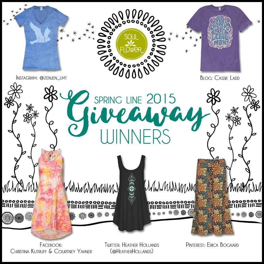 CONGRATS WINNERS! To claim your prize, e-mail yourbuds@soul-flower.com with your name, mailing address, and what size you'd like!