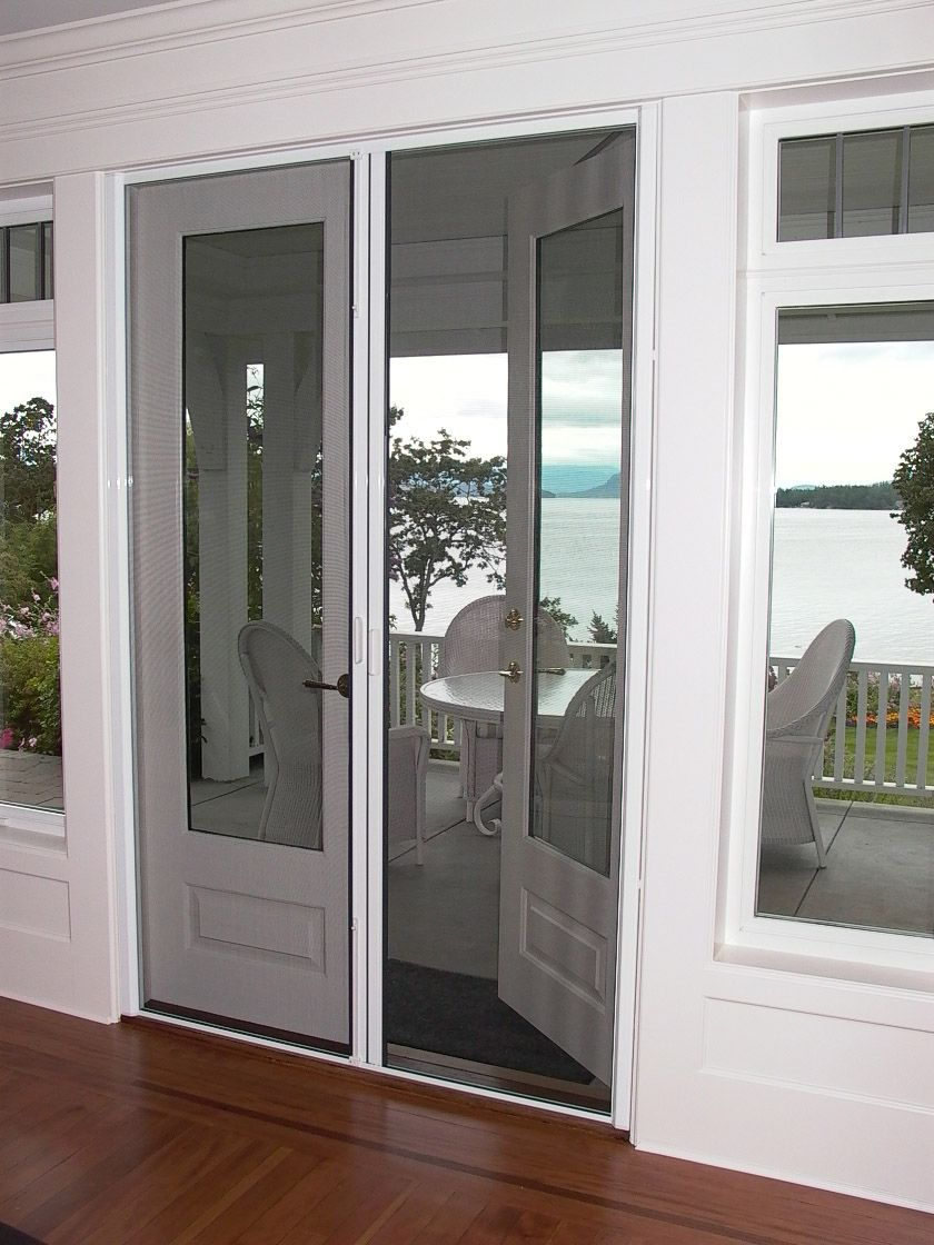 Modern Gray French Doors With Screen Doors French Doors Exterior French Doors Patio Patio Screen Door